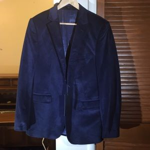 Report Navy Velour Two Button Suit Blazer
